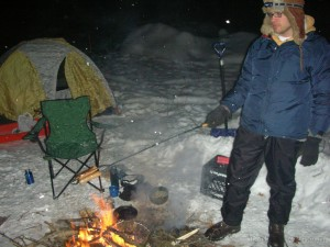 brats on the campfire