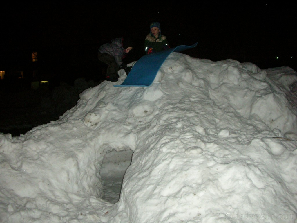 sledding on the snowcave