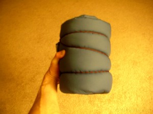 homemade sleeping bag packed