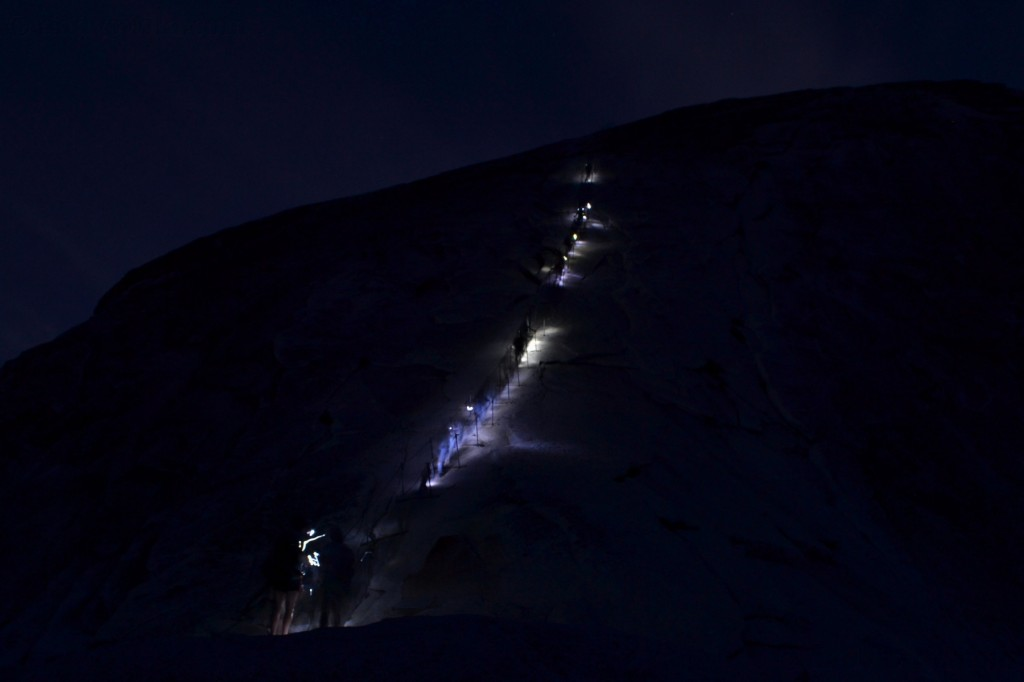 Headlamps on half dome