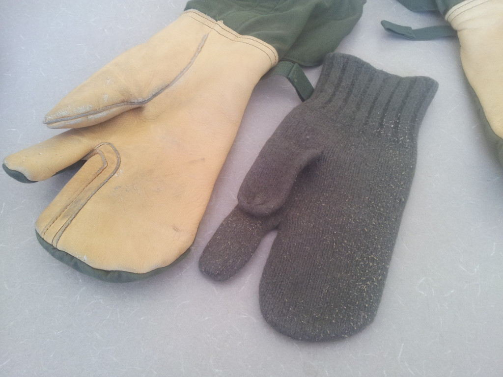 gi leather trigger finger mittens wool